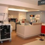 Medical Crash Cart receptionist desk in hospital