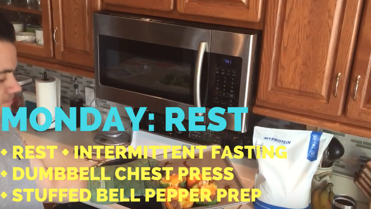 Rest Day + Fasting + Dumbbell Chest Press + Stuffed Bell Peppers Prep