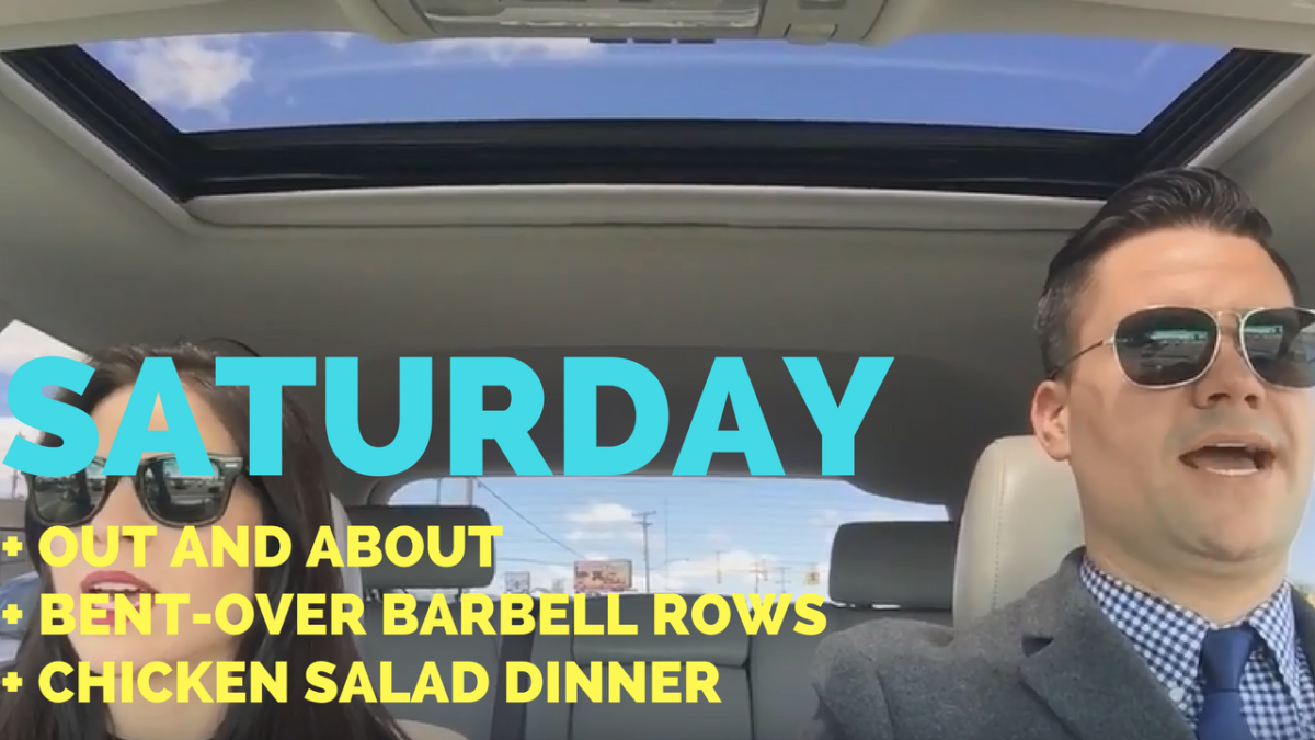 Nice Drive + Running Errands + Bent Over Barbell Rows + Chicken Salad Dinner