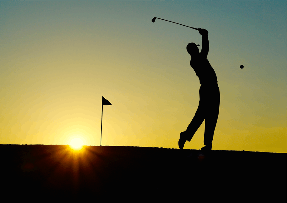 Golf health benefits in sunset