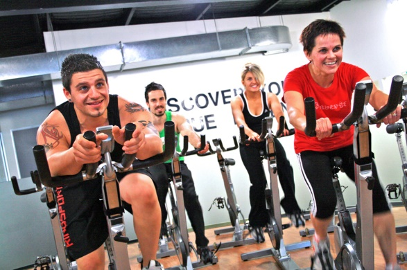 fit and healthy spinning on bikes