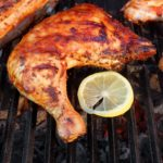 Bbq Roasted Chicken Leg Quarter On The Hot Grill