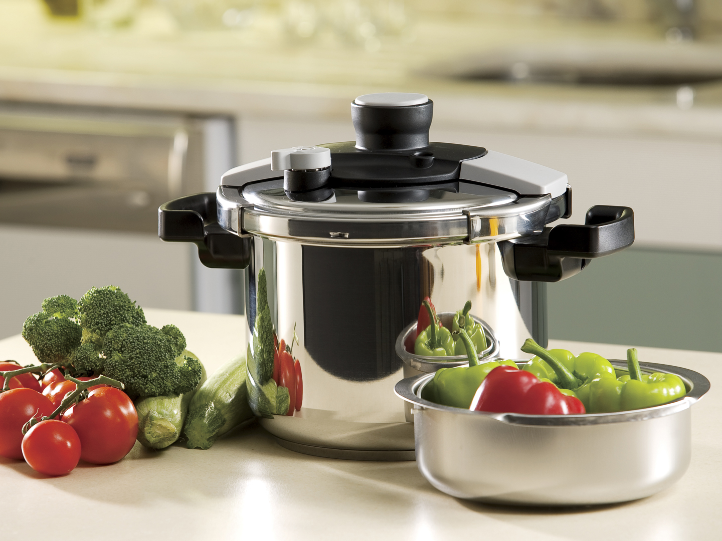 pressure cooker on kitchen counter