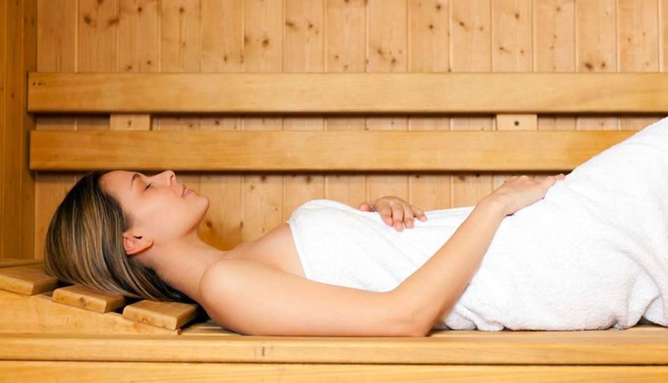 sauna woman resting