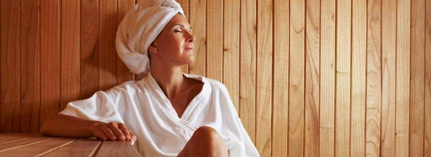 sauna woman head wrap towel