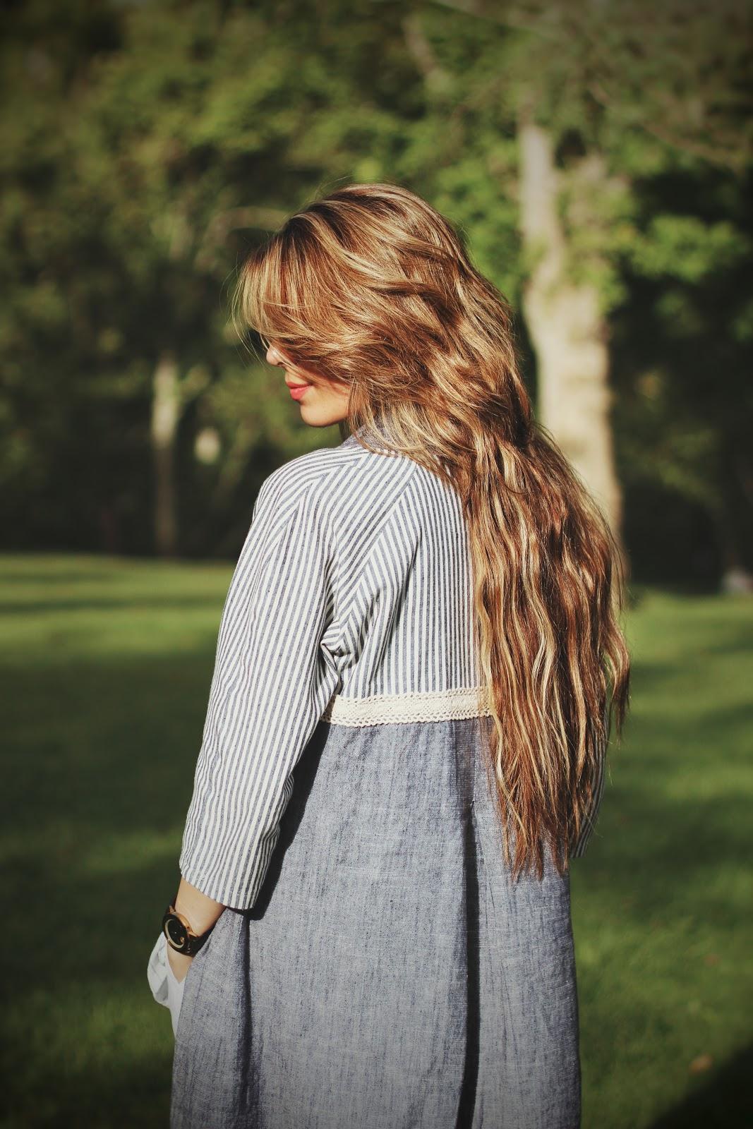 Hair Growth Routine While Getting Rid Of Hair Breakage blue dress
