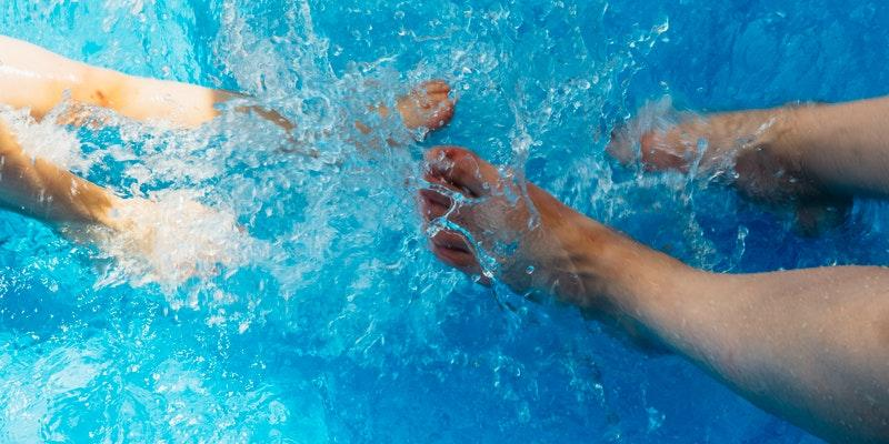 What is a Self-Cleaning Swim Spa? swimming feet